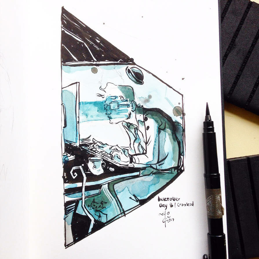 INKtober day8  crooked. Once upon a time, there was a not so crooked man who bought a computer. He then became the crooked man with the crooked smile, who had a crooked sixpence and barely walked a mile.