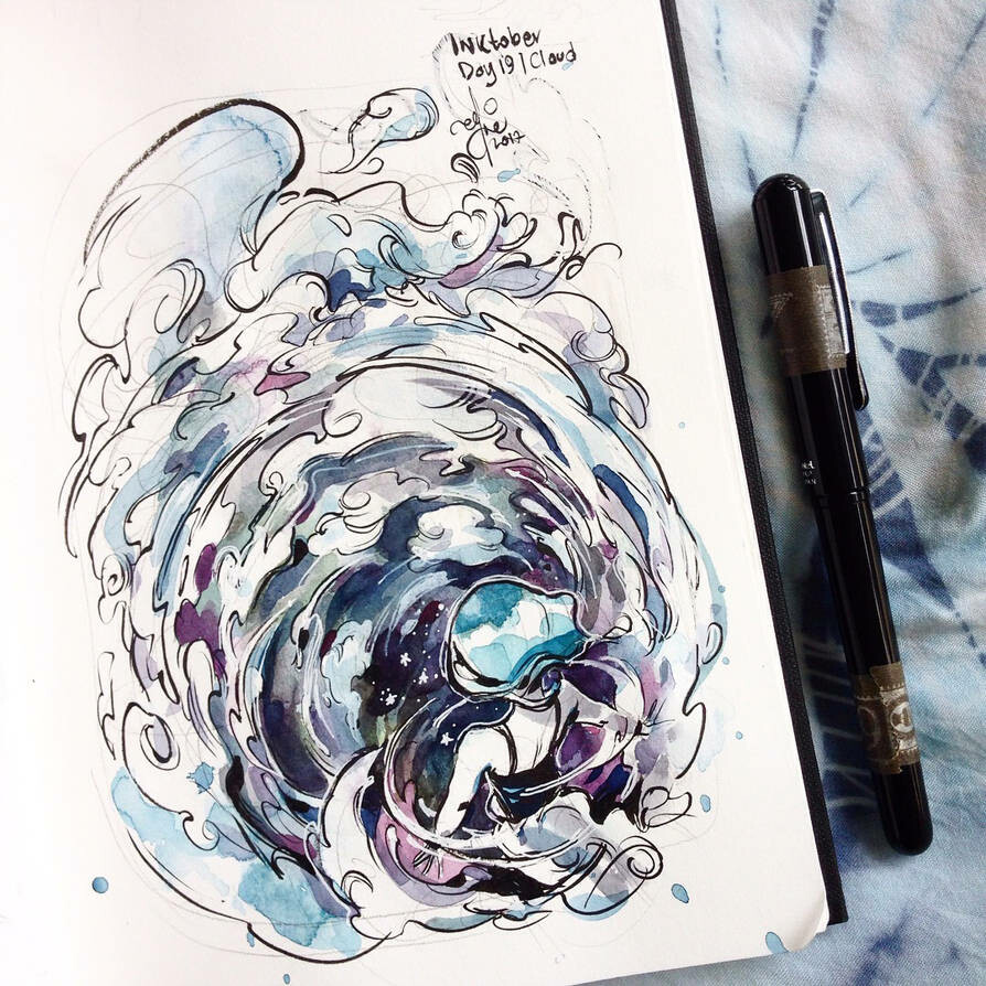 INKtober day 19| cloud. Sadly I only see haze out my window