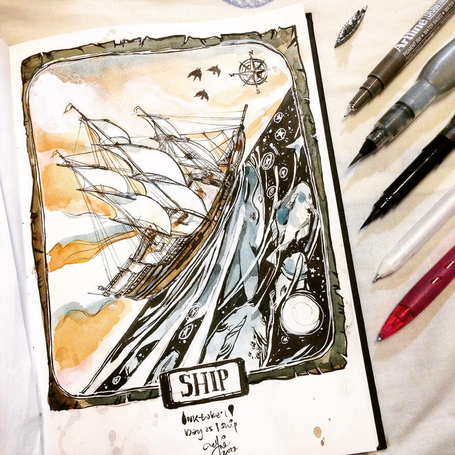 INKtober day25  Ship. Did at least 3 failed attempts at this piece. Ships are @_@