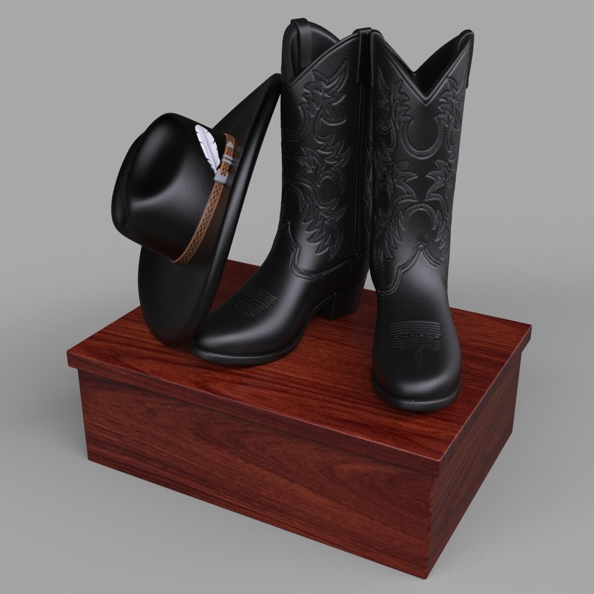 Ken calvert cowboy boots feather