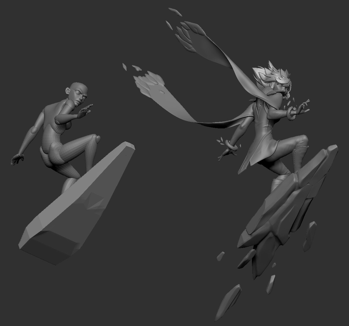 Comparing initial pose and final sculpt.