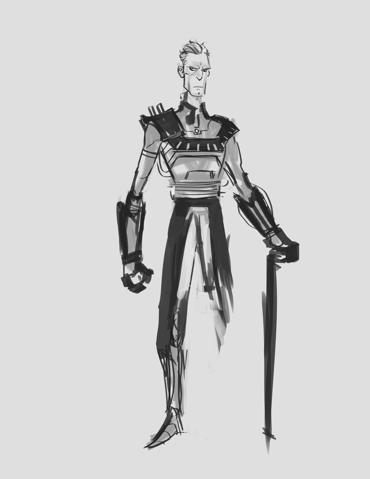 early design of an aging Daxos with no leg, this was changed in the final version for him to have a prosthetic leg.