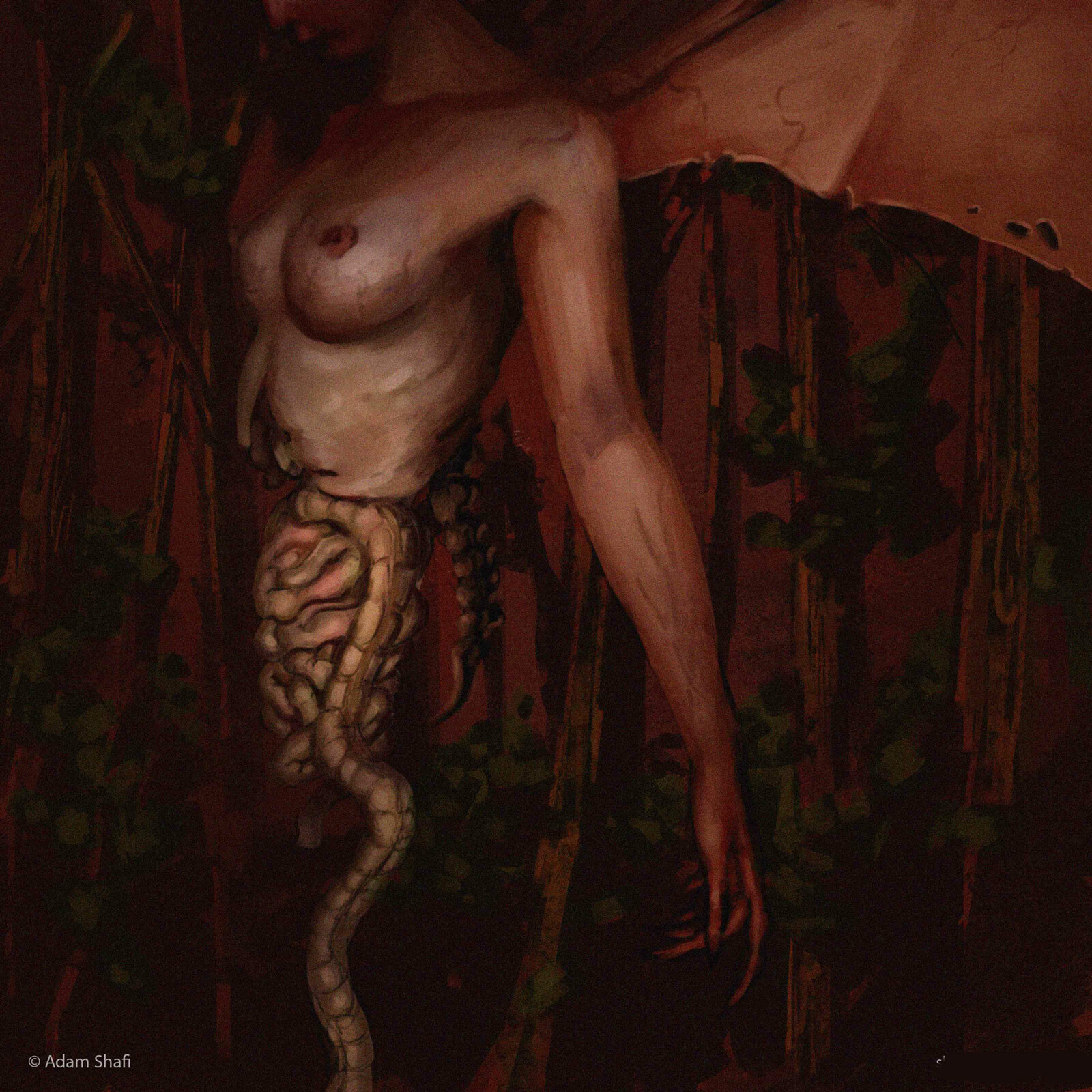 The Penanggalan. As night comes, the top half of a cursed girl sprouts wings and splits from her waist. Entrails hanging loose, she stalks the forest awaiting prey in the form of lost wanderers.
