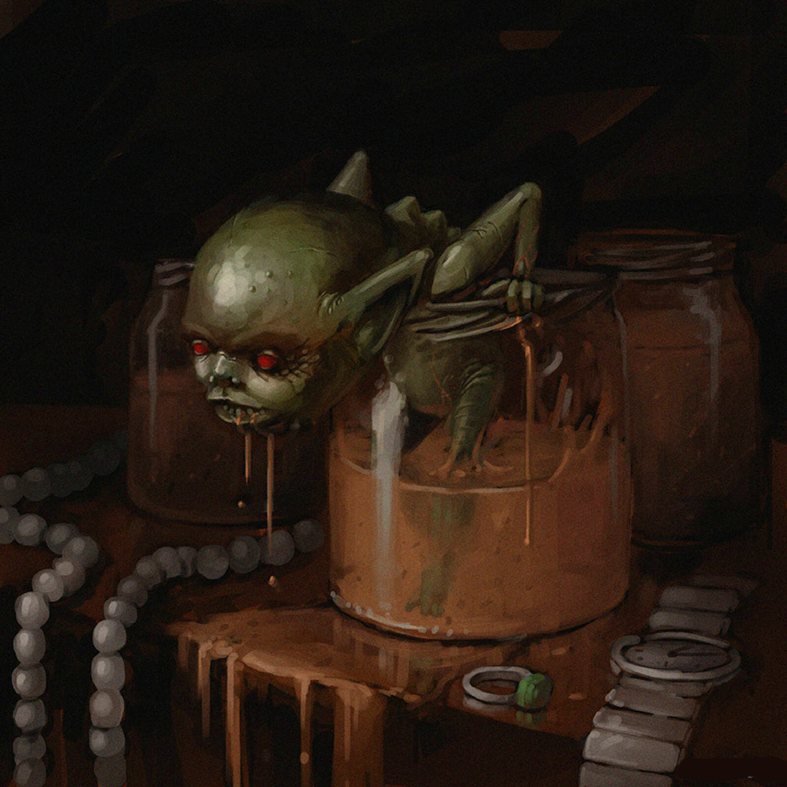 The Toyol. A small imp bred in jars. If sufficiently fed with the blood of their owners, they will prowl the night doing their master's bidding, usually stealing from their enemies.