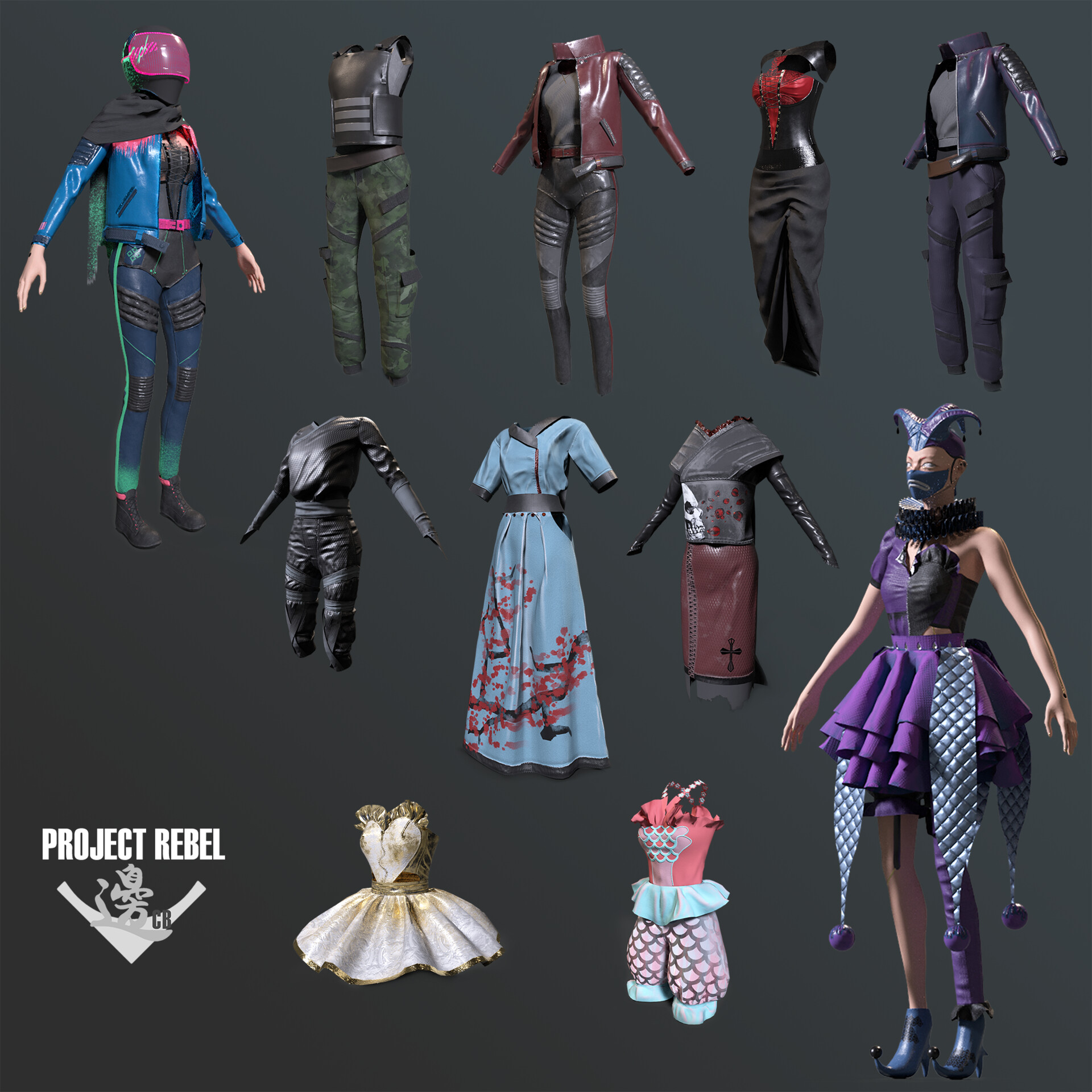 Collage of all the outfits in the three sets