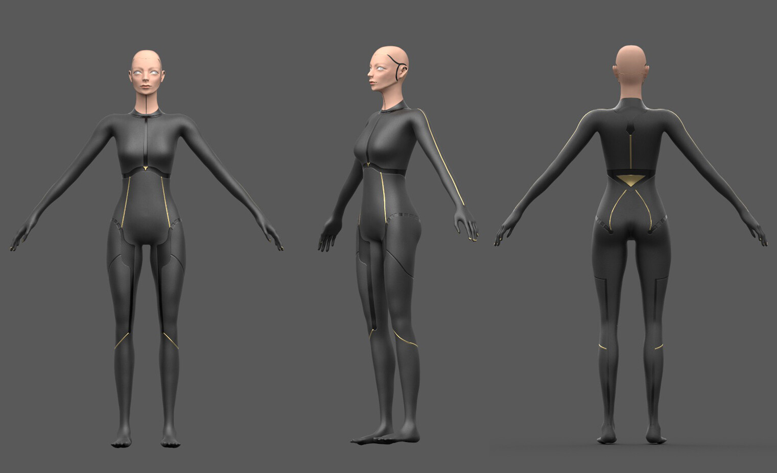 Early android body. It was later fixed into a mutual grey color for less distraction from the clothes.