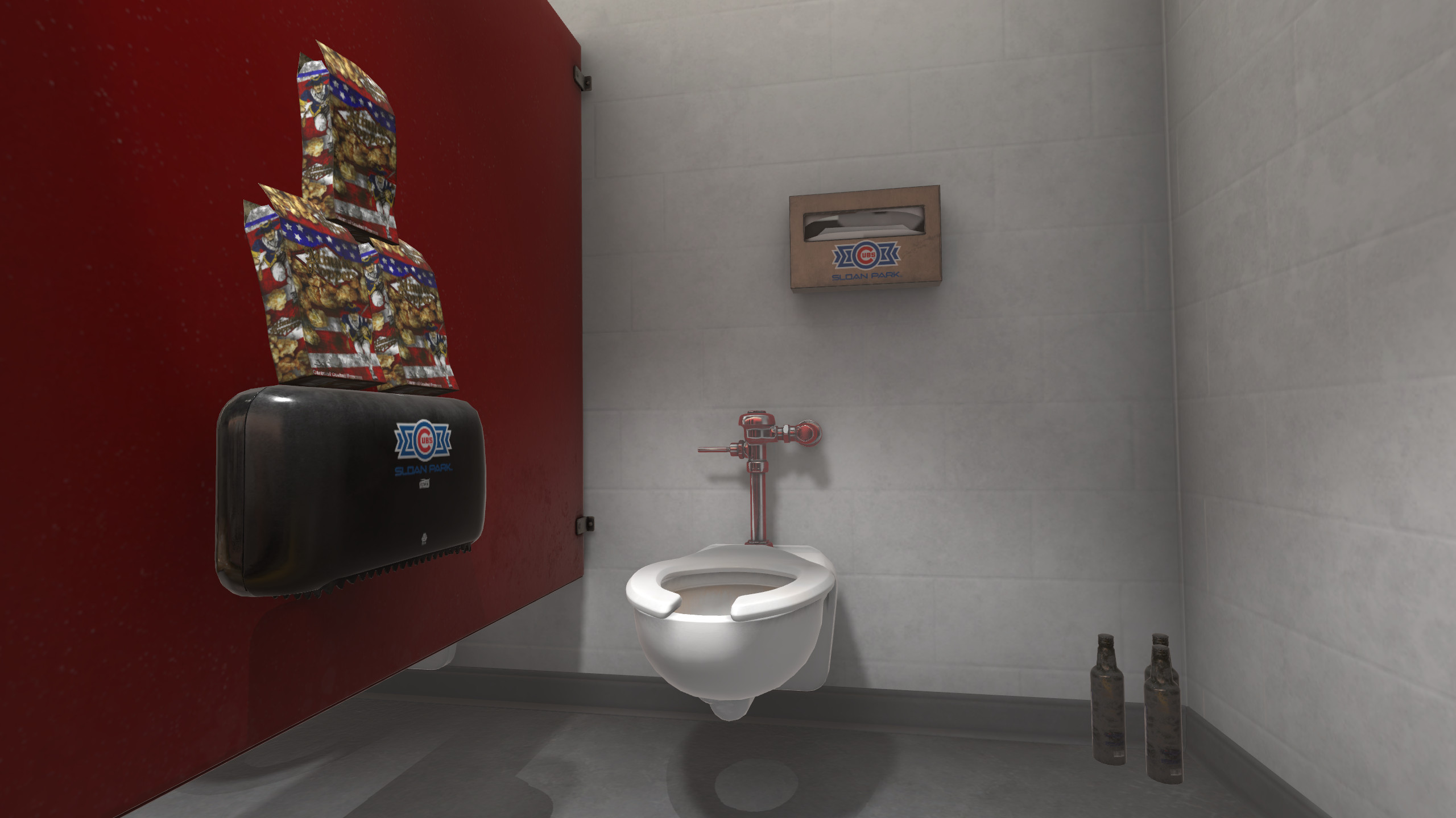 Clean version of the scene above. What the player will see if they are able to clean the entire bathroom stall.