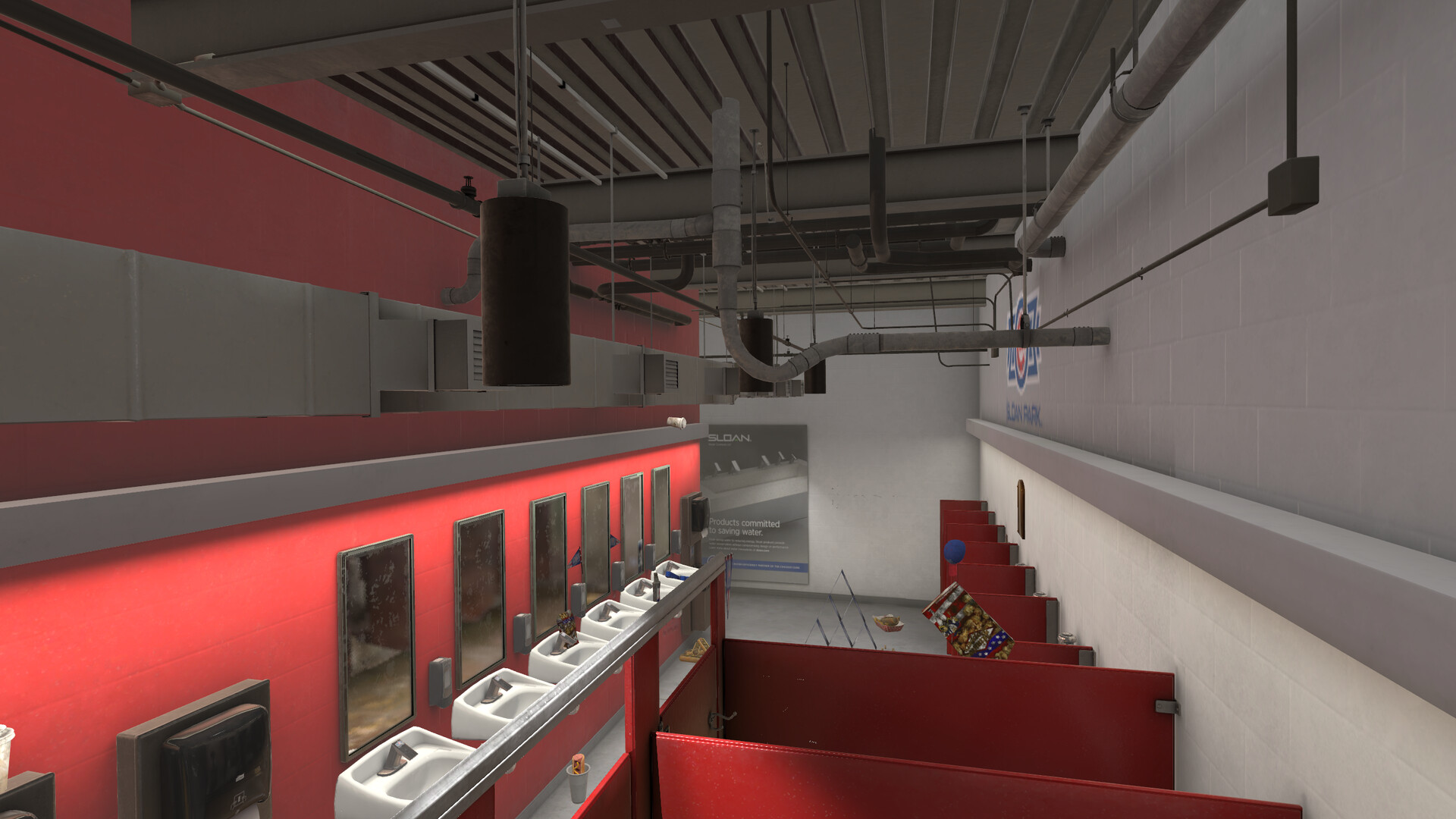 A look at some of the ceiling and pipes that were recreated from the actual stadium.
