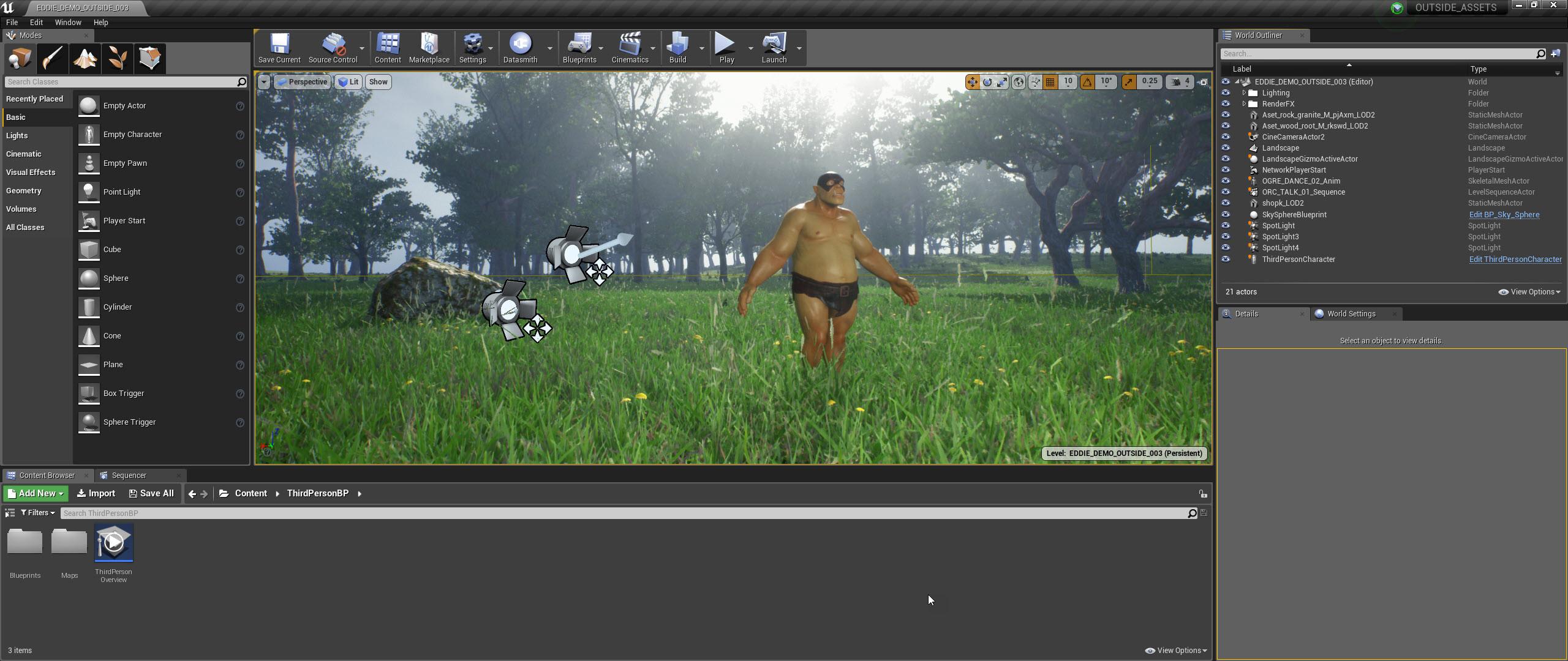 Scene in the Unreal Engine