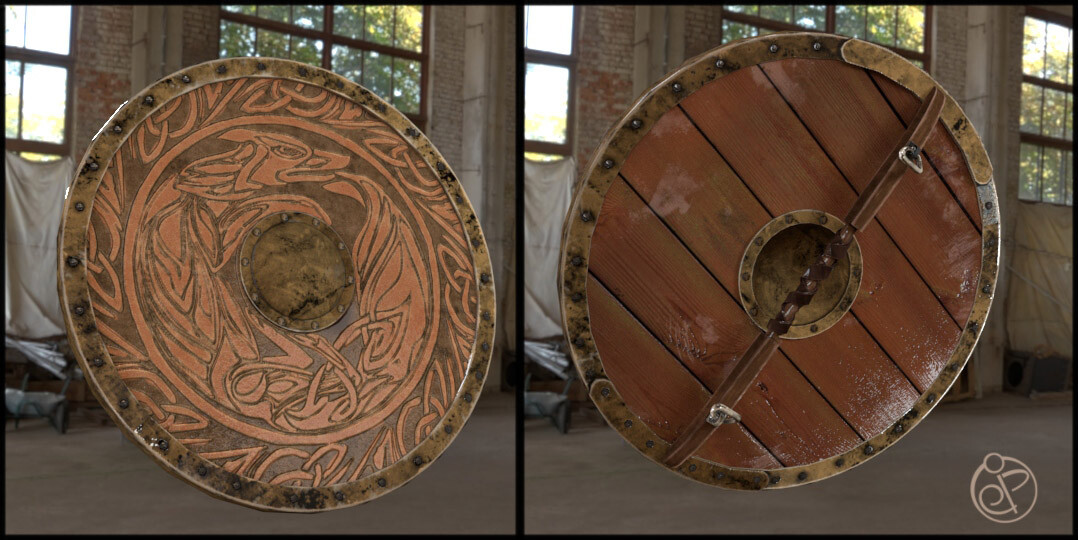 shield done in Maya, Zbrush, substance designer, and substance painter