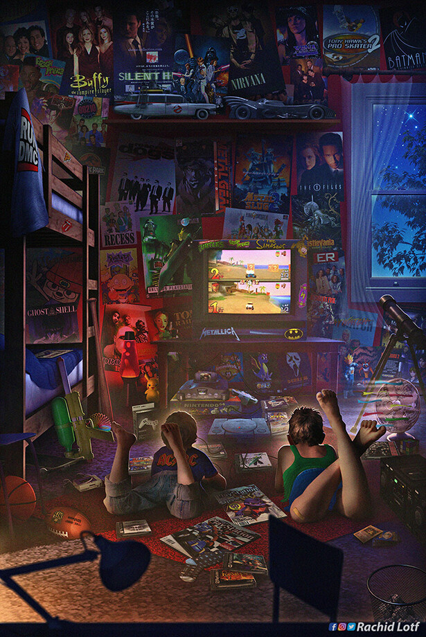 Artstation Brother In Arms 90s Gamer Room Ps1 Rachid Lotf