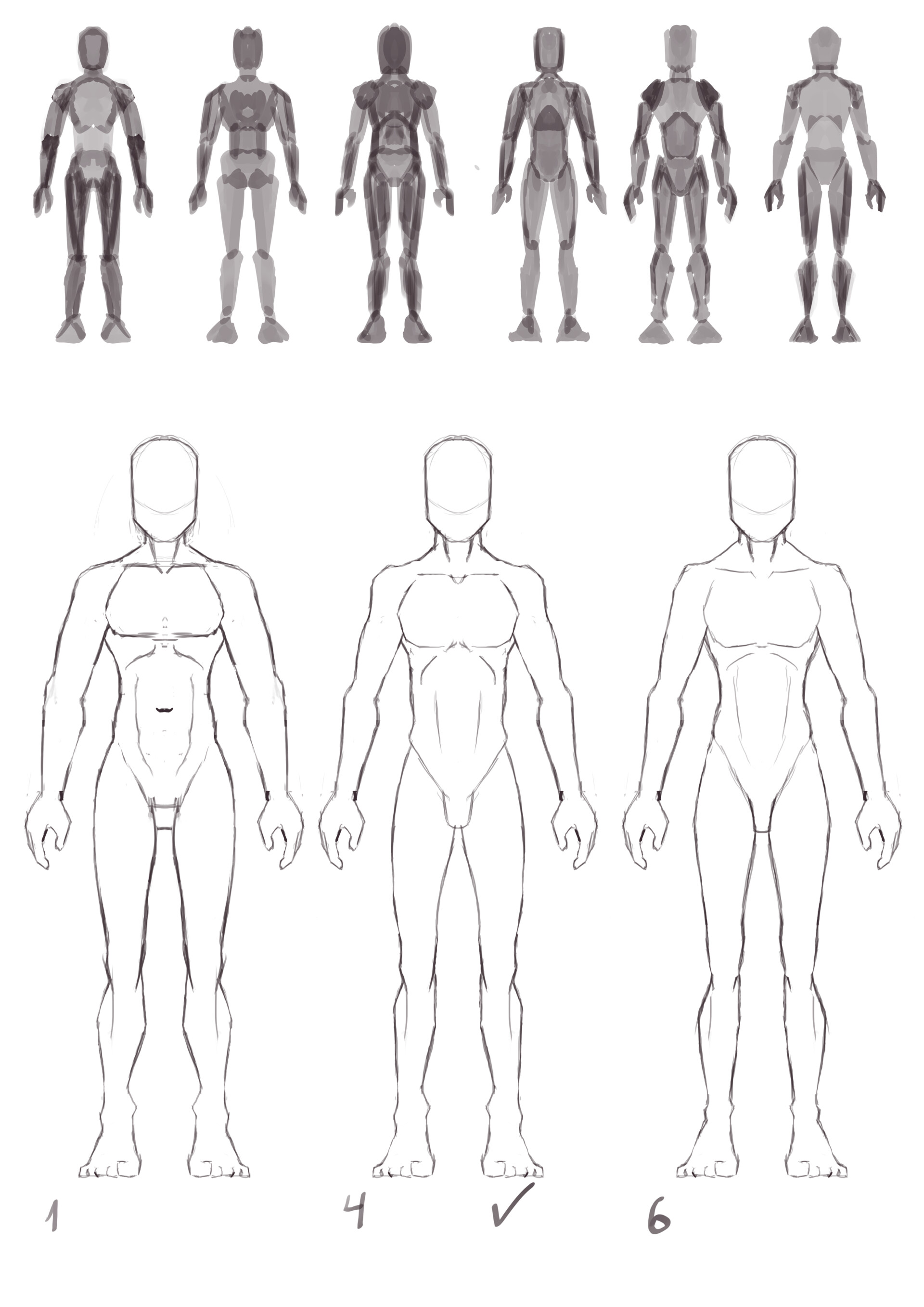 Body sketches and thumbs