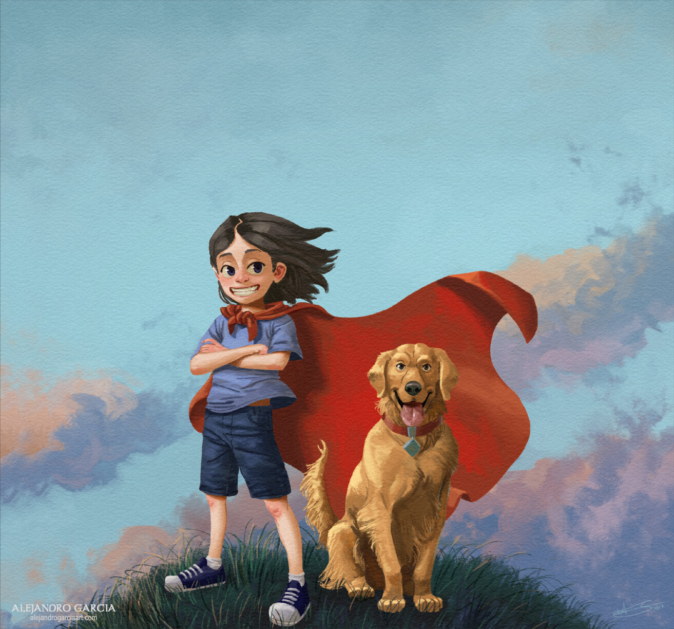 Children's book 'Charlotte y su perro Kiko' illustrations