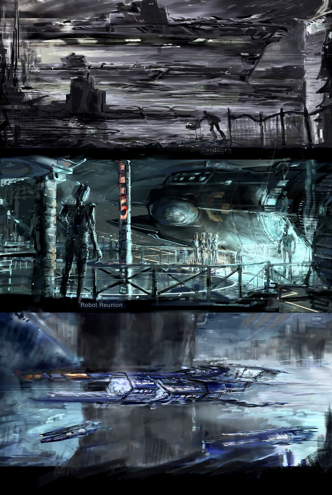 3 paint sketches.