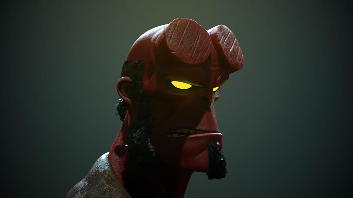 Hellboy fanart dark closeup