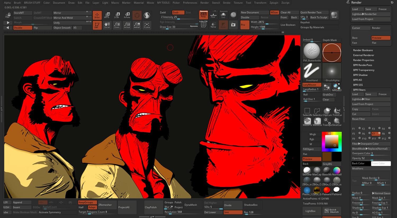 Hellboy fanart ZBrush 2019 comic style render