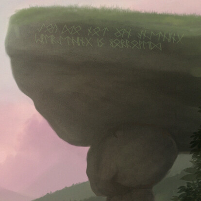 """There are some runes on bigger rock on the right and it means """" You do not own anything. Everything is borrowed. """""""