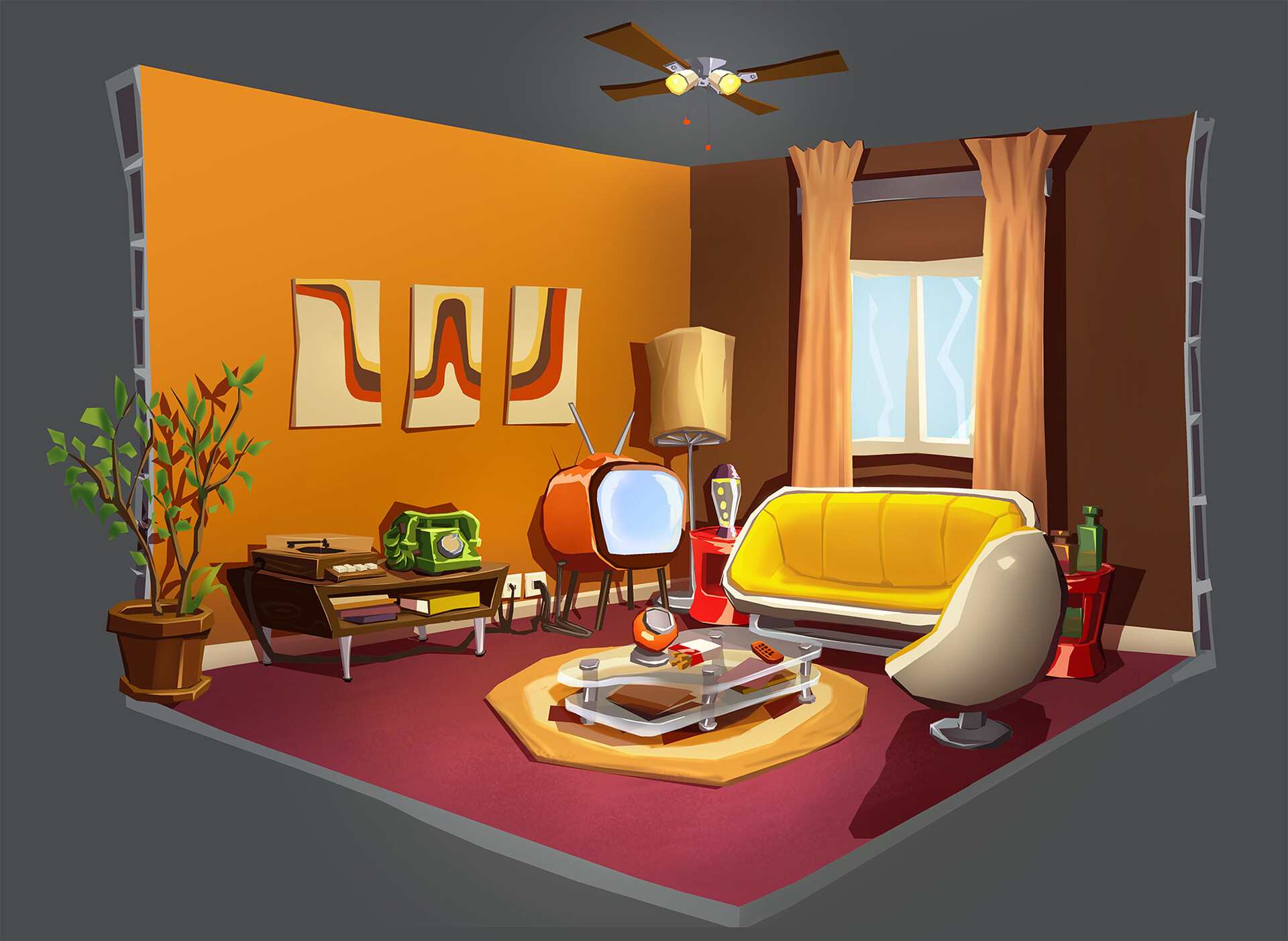 Artstation 70 S Living Room Diorama Thomas Vaulbert