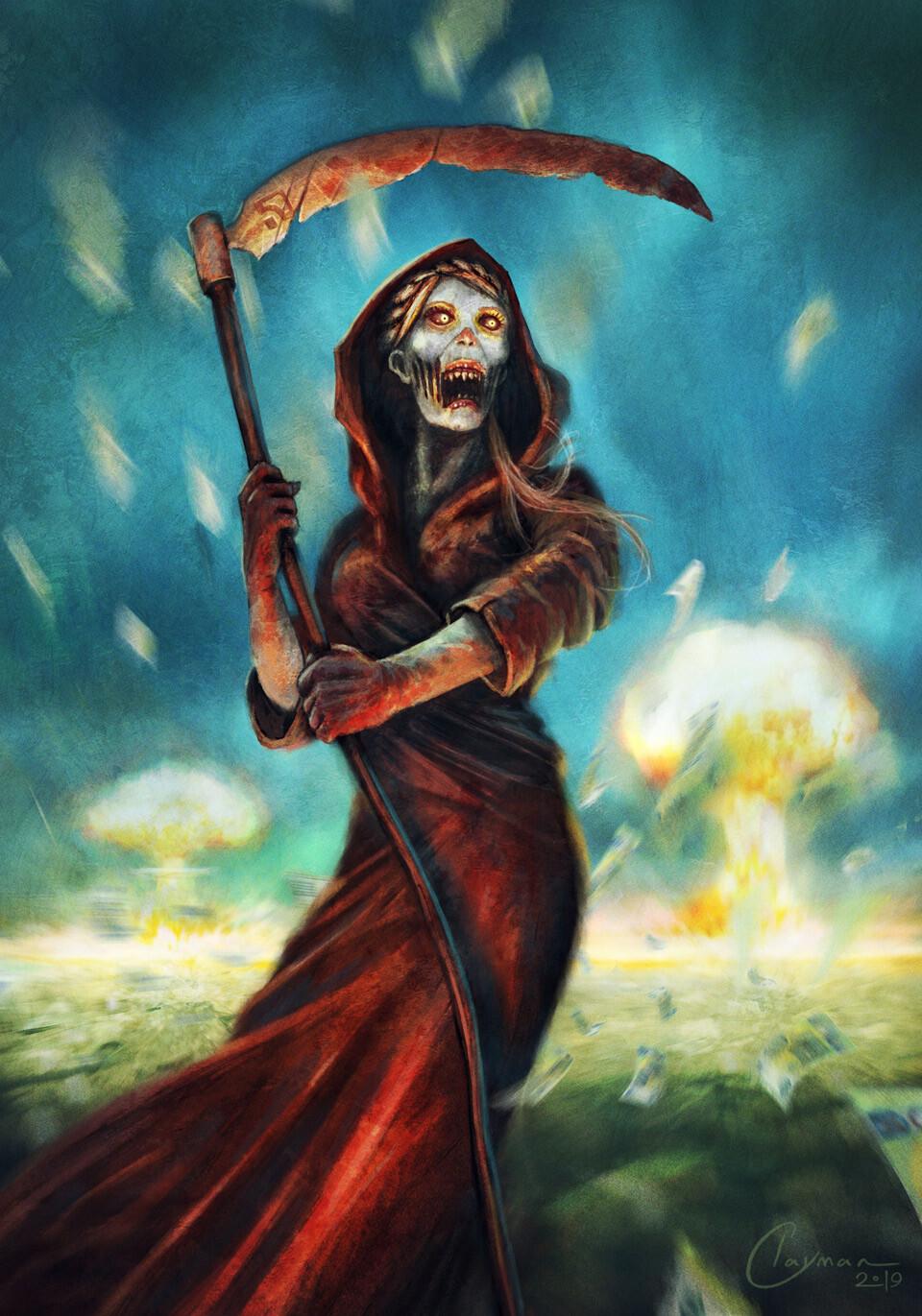 Jan clayman woman with scythe