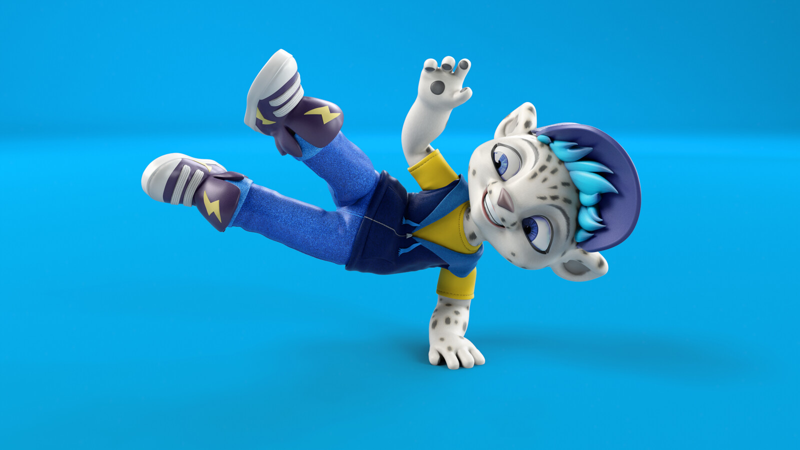 "This was an advertising image to showcase the character Freeze doing a ""Hip-hop"" break dance pose."