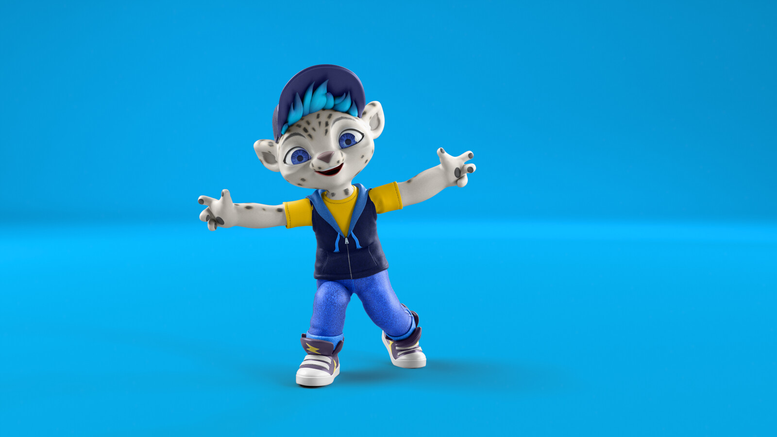 "This was an advertising image to showcase the character Freeze doing a ""Hip-hop"" dance pose."