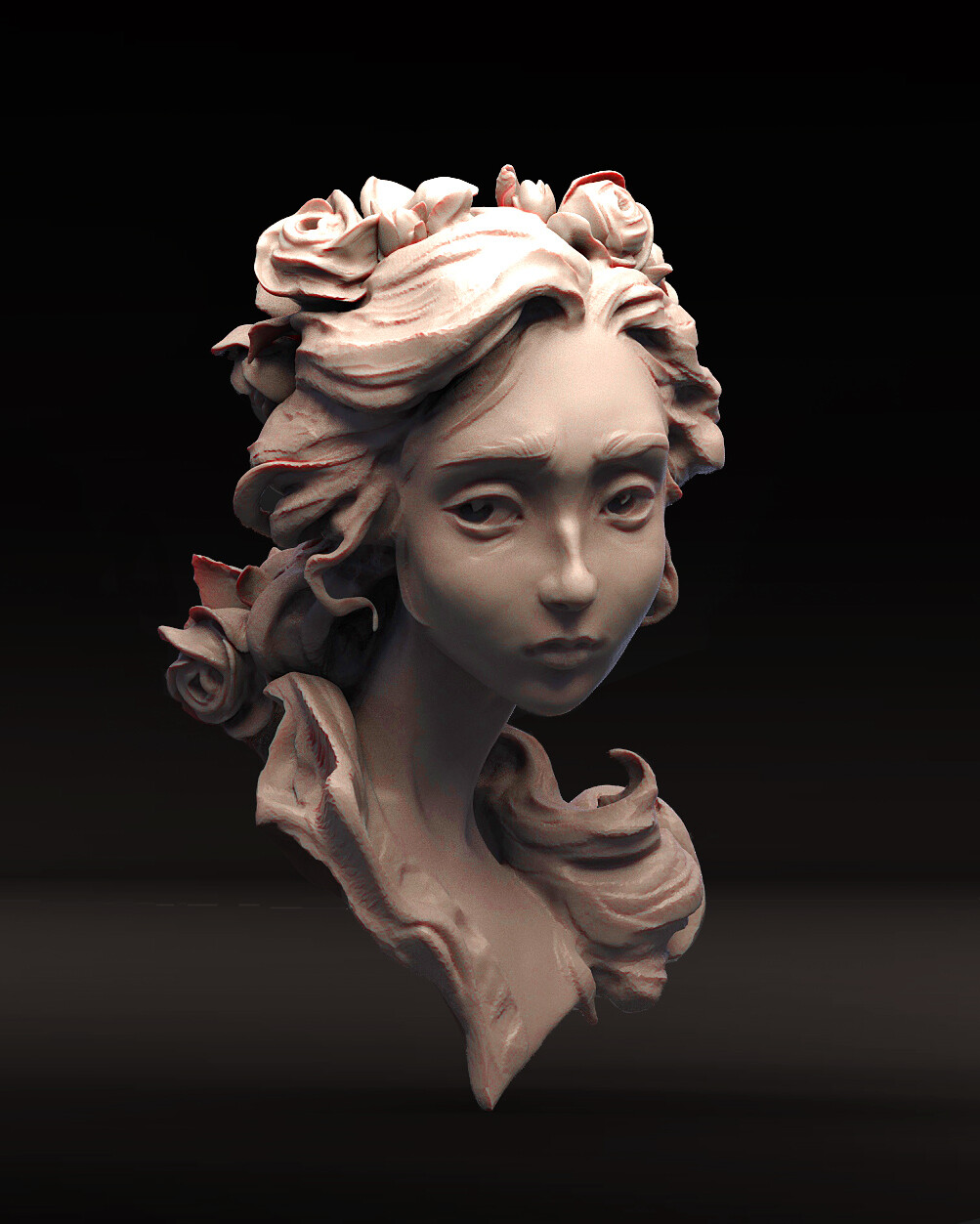 All sculpted in one piece except for roses and roses sculpted from spheres