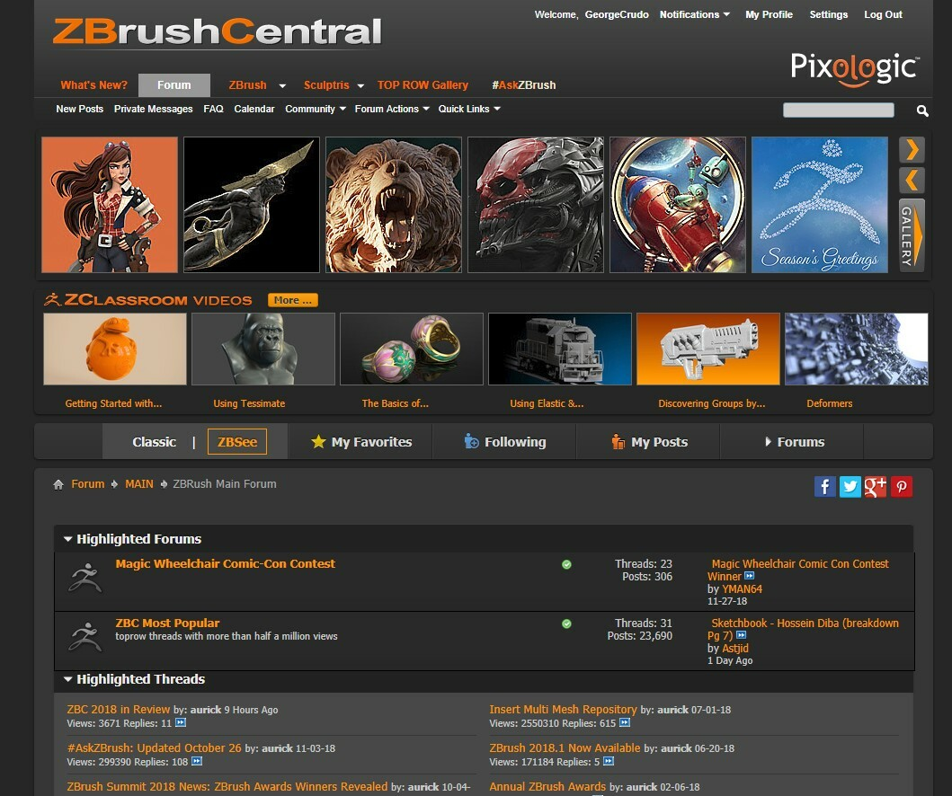 Featured on the ZbrushCentral Top Row