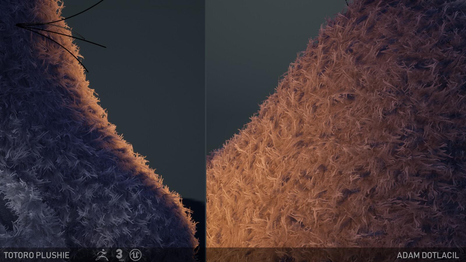 Fur under a rim light & shadow casting