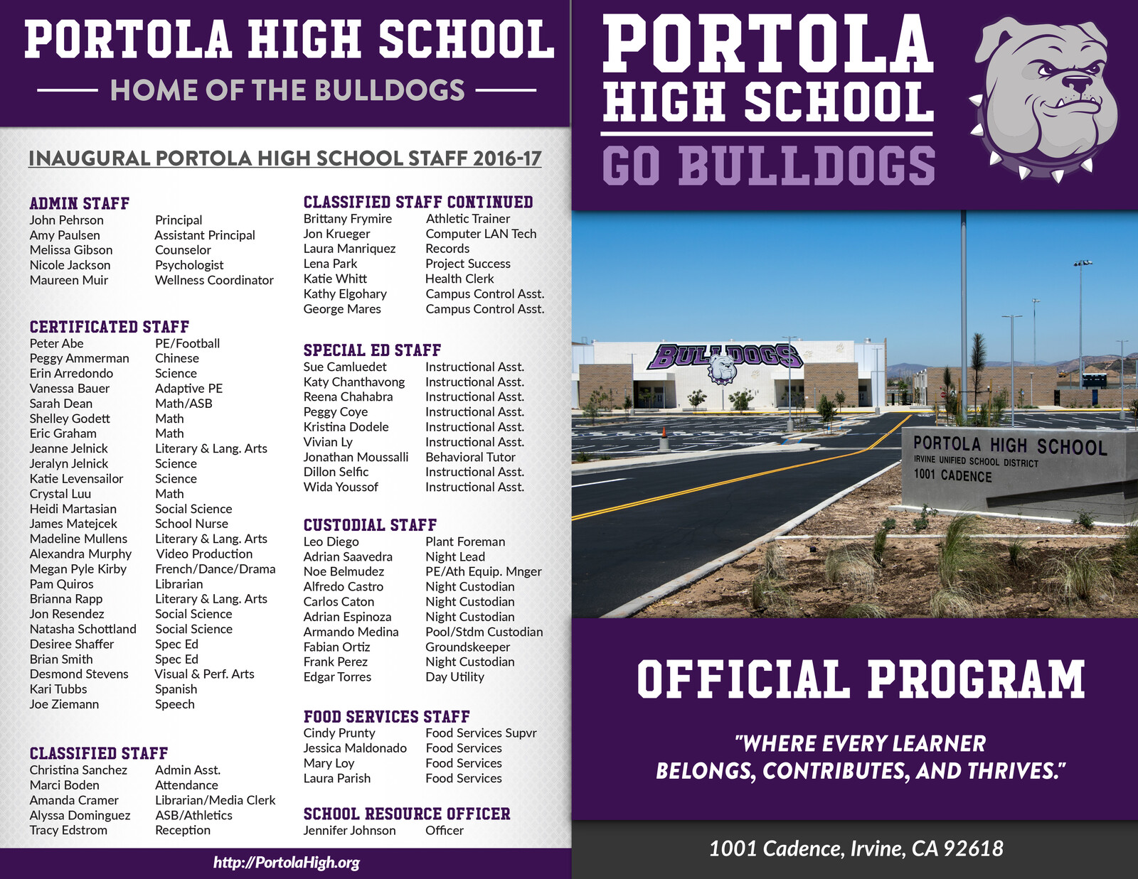 Portola High School Dedication Program