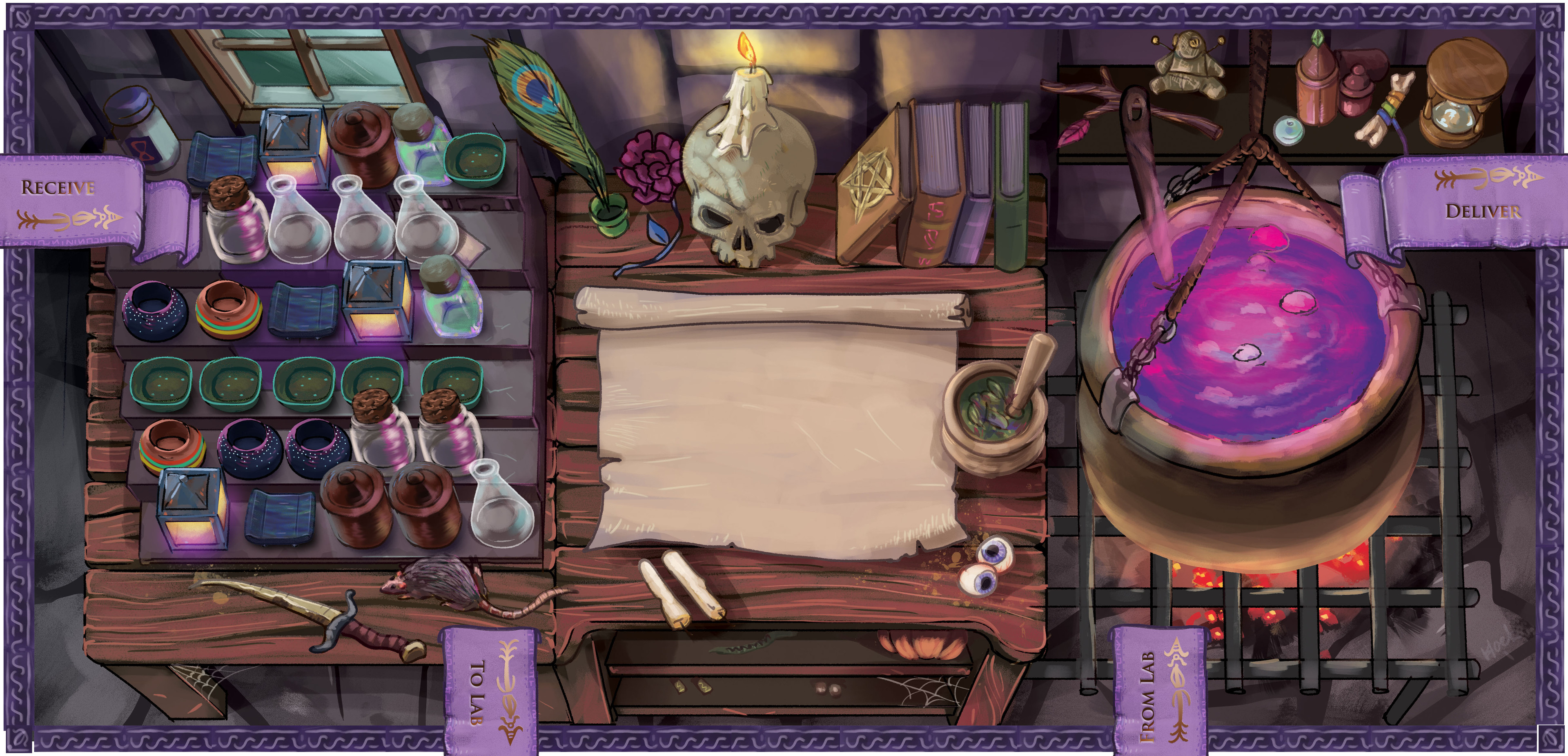 Whirling Witches player game board