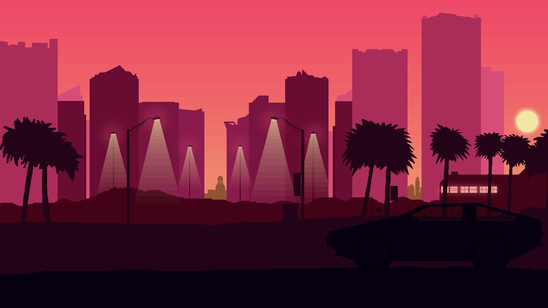 Artstation Hotline Miami Sunset Pixel Art Dawid Szypura