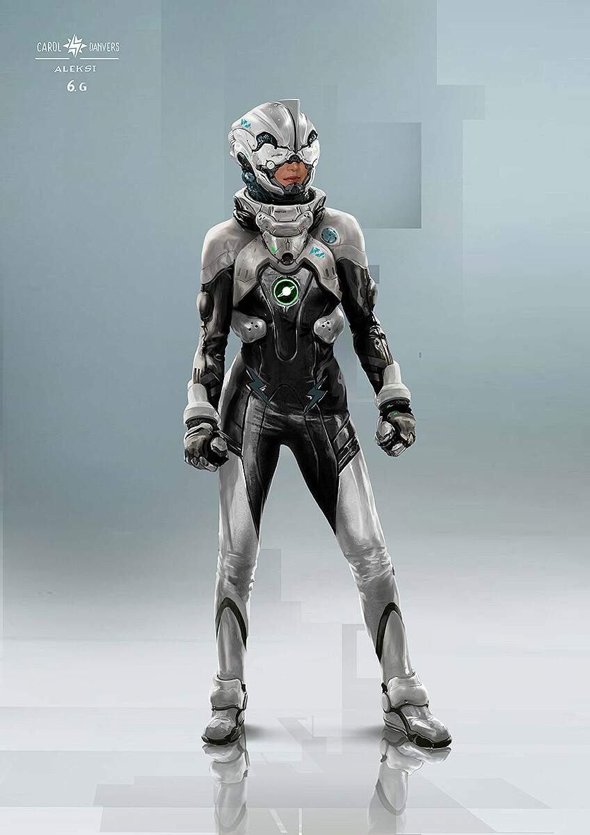 Another early exploration for Captain Marvel and how a Kree elite pilote could look like. This time refering to the Kree black suits you can find in the anime