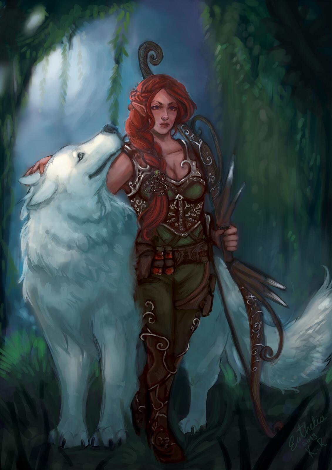 ArtStation - Half elf ranger with wolf, Katarina Rašić