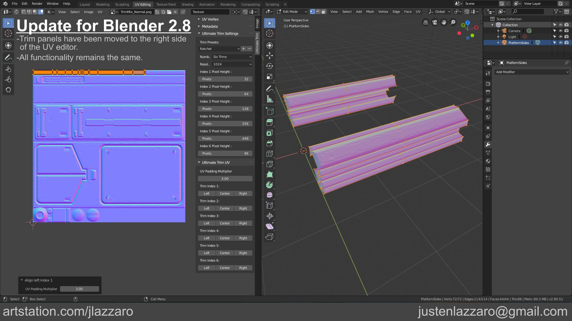 ArtStation - Ultimate Trim UV - Free Blender Add-on, Justen Lazzaro