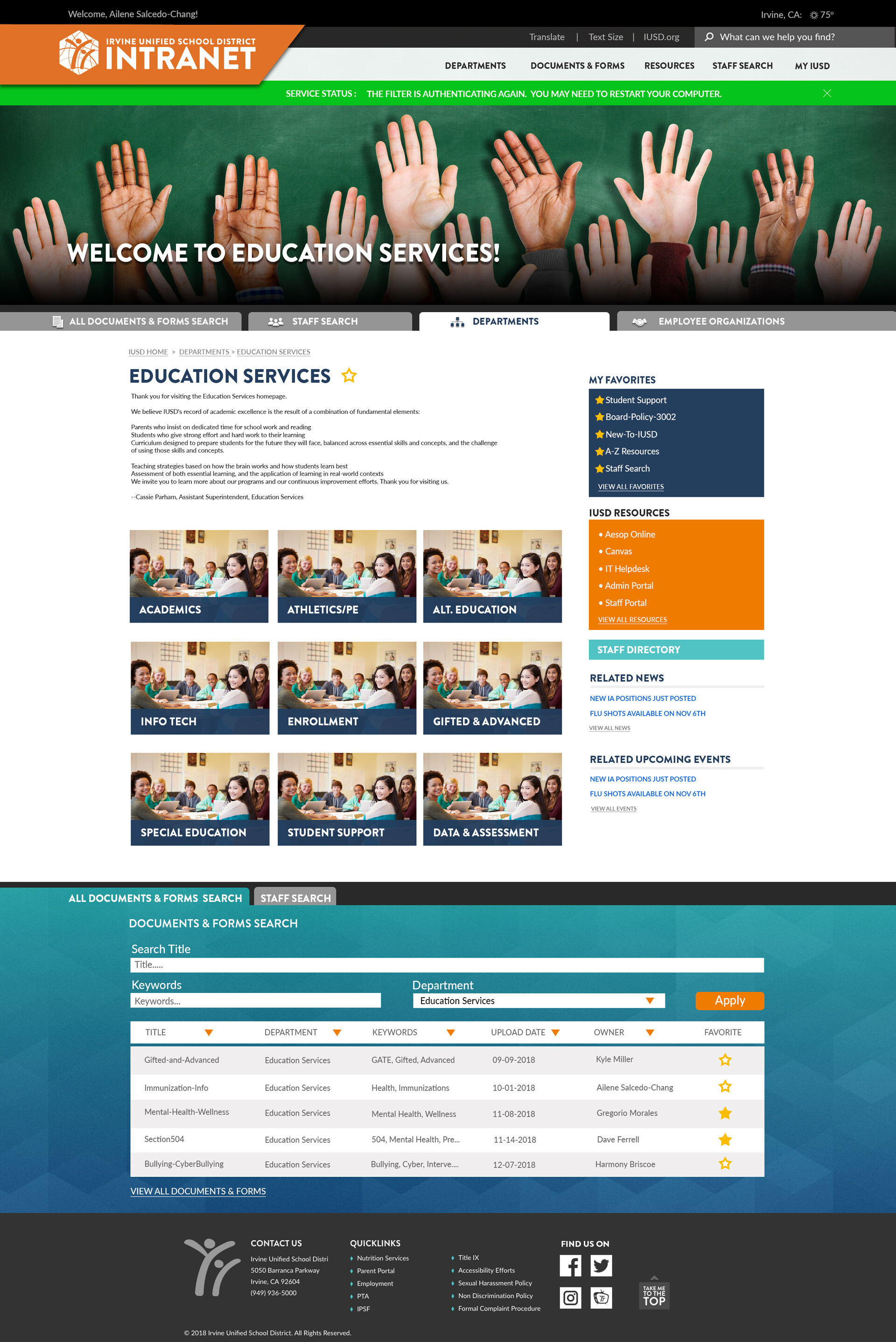 Kyle miller intranetmockup 2019 departments education services v1 8