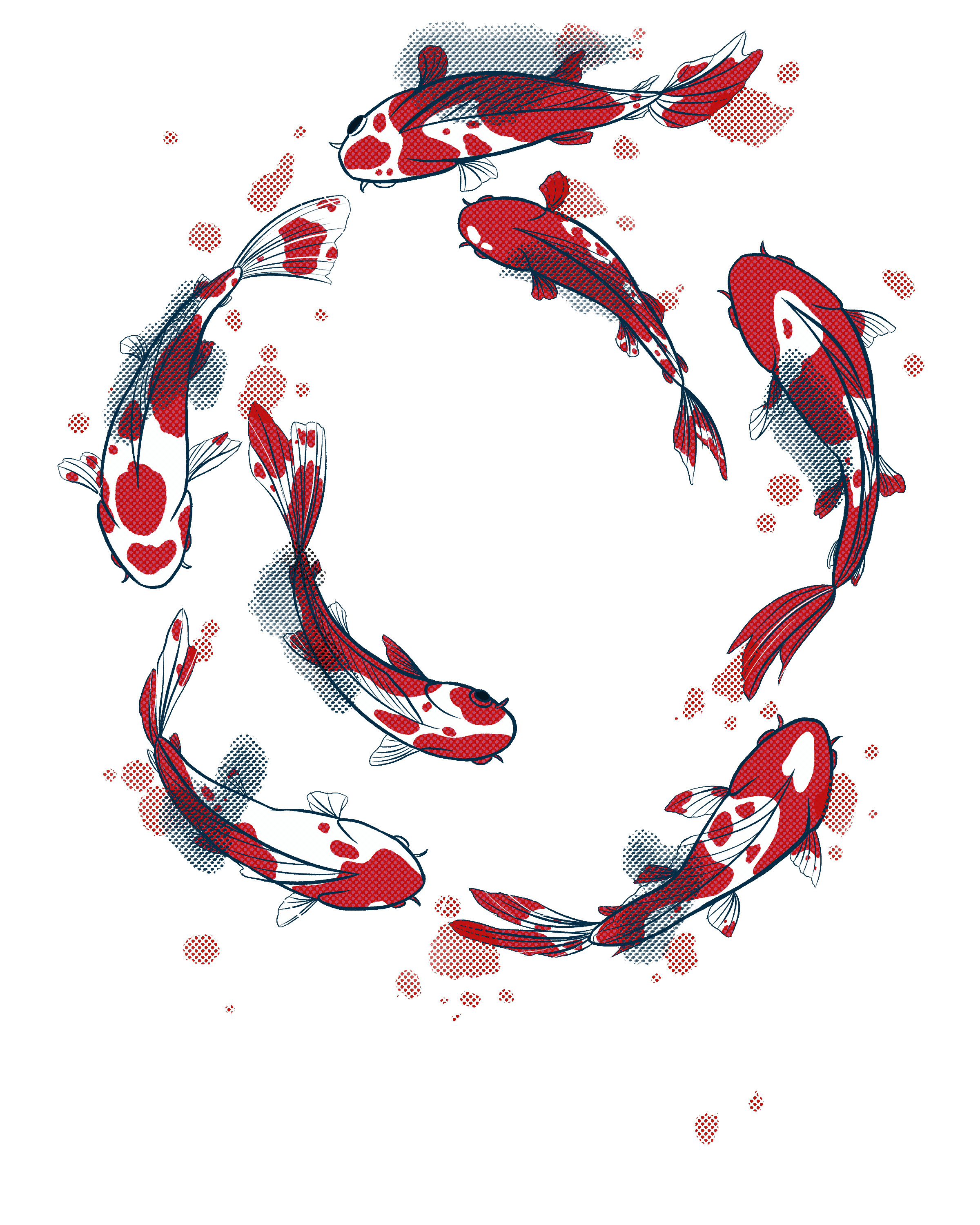The Koi Fish Seperated from the rest of the image.