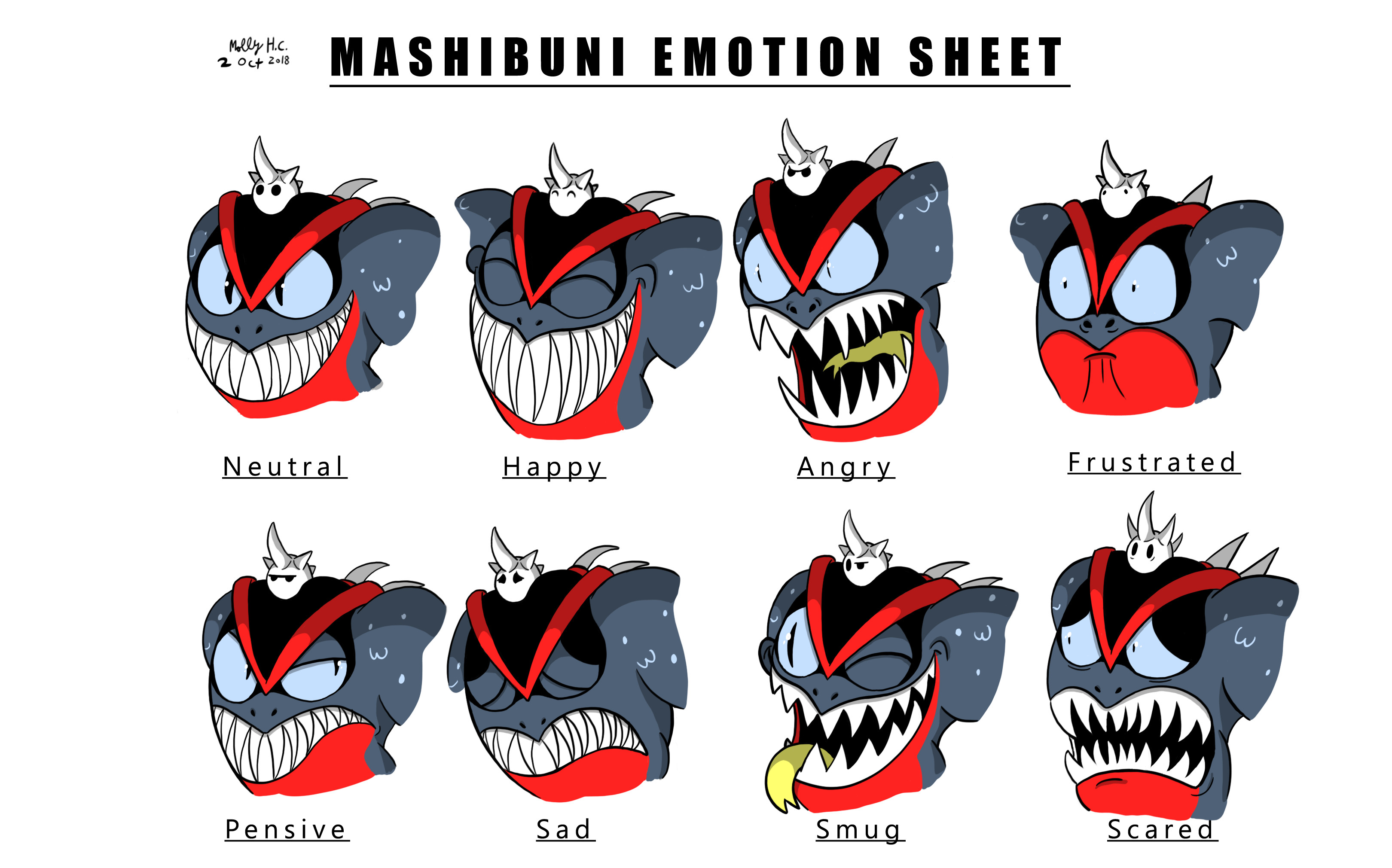 """Mashibuni Emotion Sheet""  Production art created for ""Kaijack Card Attack!"" by Arcane Circus.   (http://kaijackcardattack.com)  © 2018"