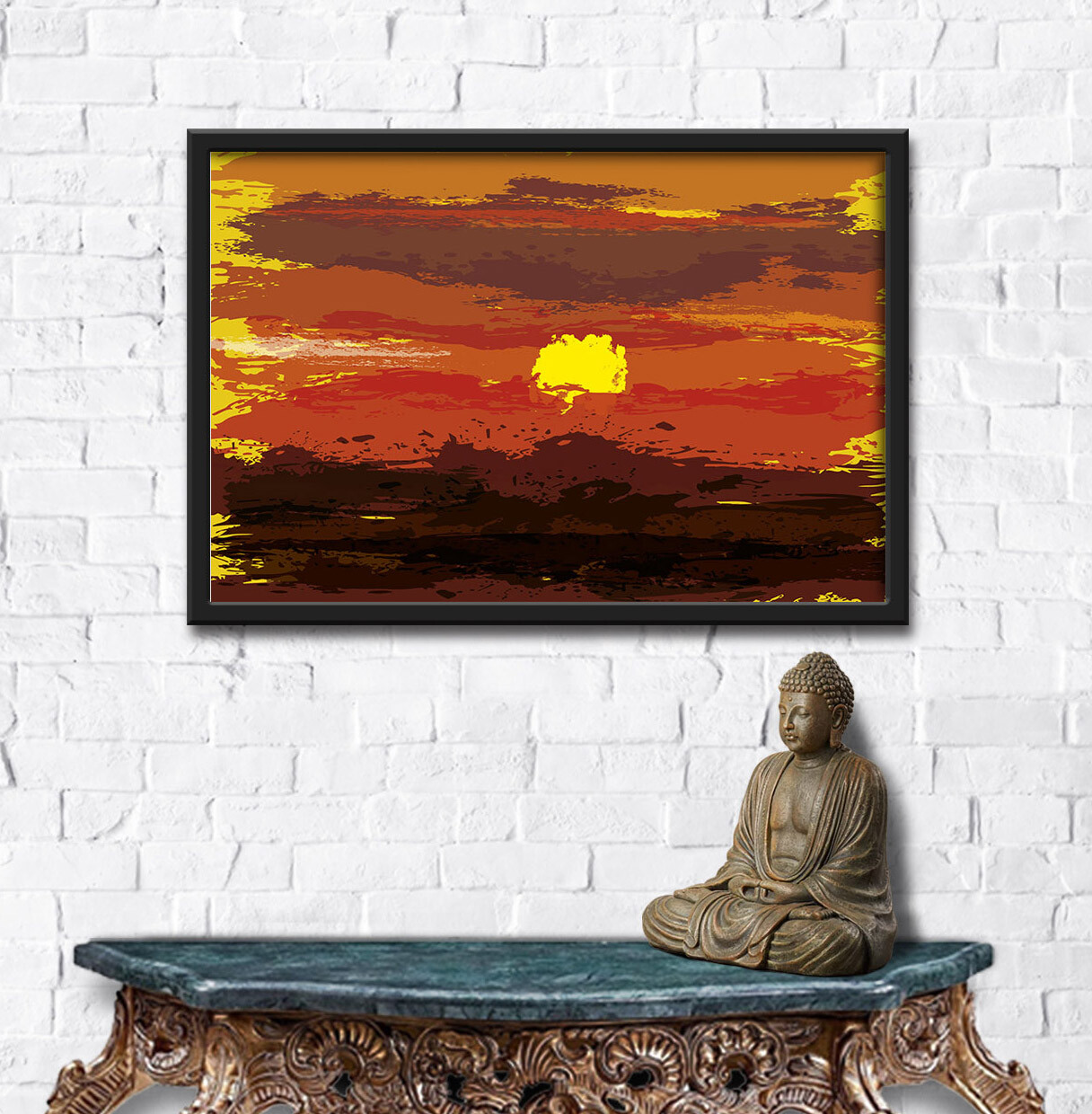 Rajesh r sawant sunrise abst white wall with antique table