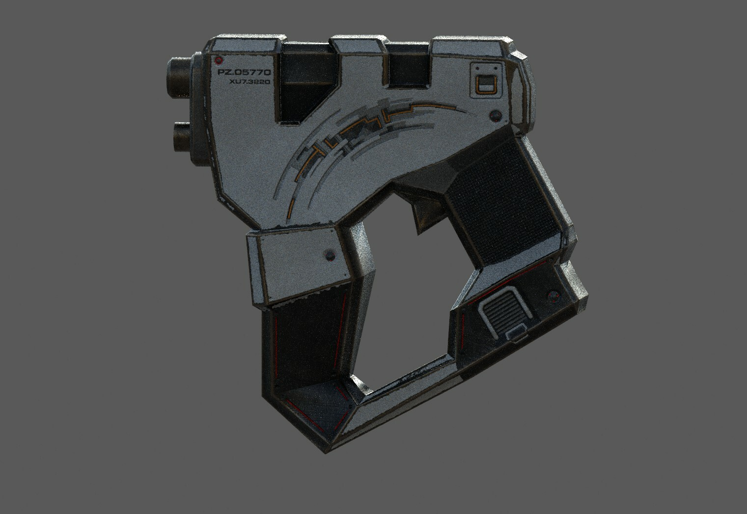 """Low poly sci fi weapon blaster, for custom game in """"second life"""""""