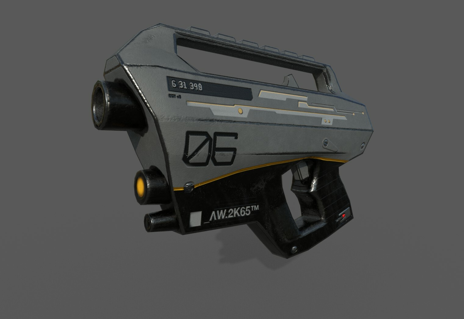 """low poly Sci fi automatic weapon, made for """"second life"""" custom game."""