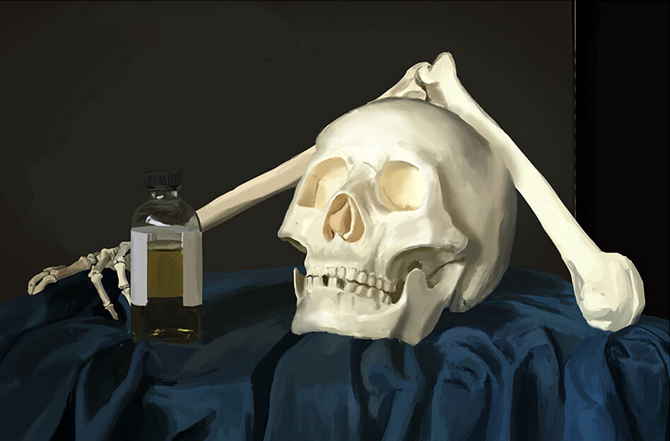 Skull and a bottle