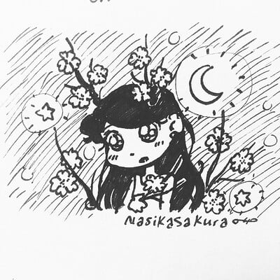 Nasika sakura day 72 april 5 daily doodle 16 flower horns v2