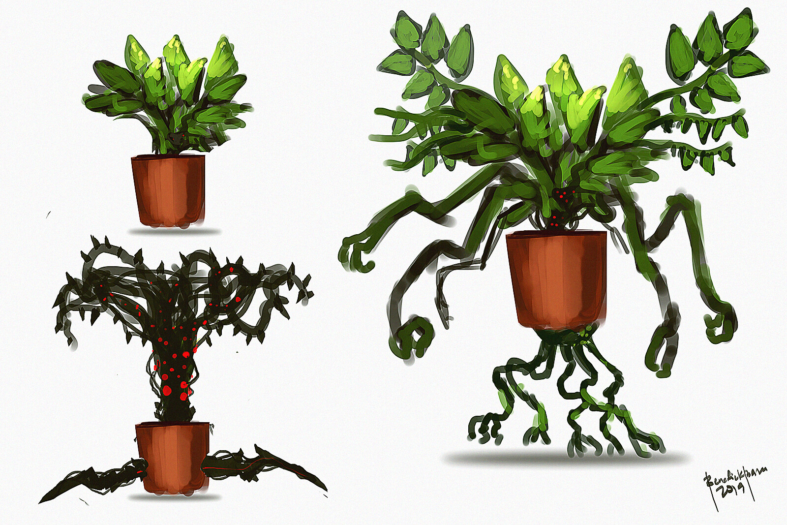 not my style :D well trying something different haha! - ancient creature disguise as a plant :D. it mimics plants and hide in vases.