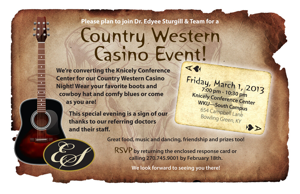 Charles kent country western casino night invite sturgill front 1000w