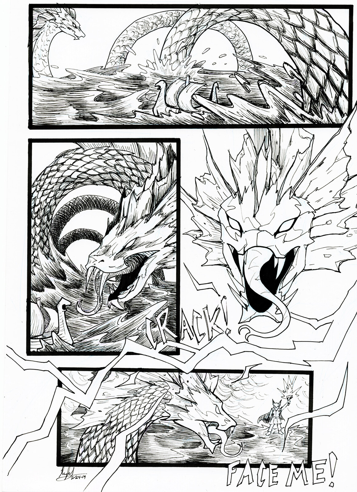"""A comic put together from random sketches of the world serpent in my sketchbook. When my friend asked if it was the layout for a comic, I said """"it is now!"""""""