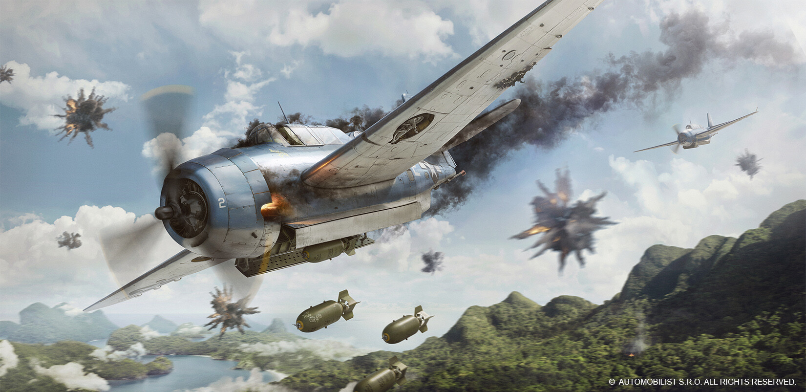 Battle of Philippine Sea Artwork - modelling of wings, lower fuselage and bombs