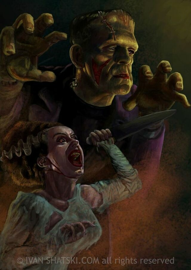 The Monster of Frankenstein and the bride