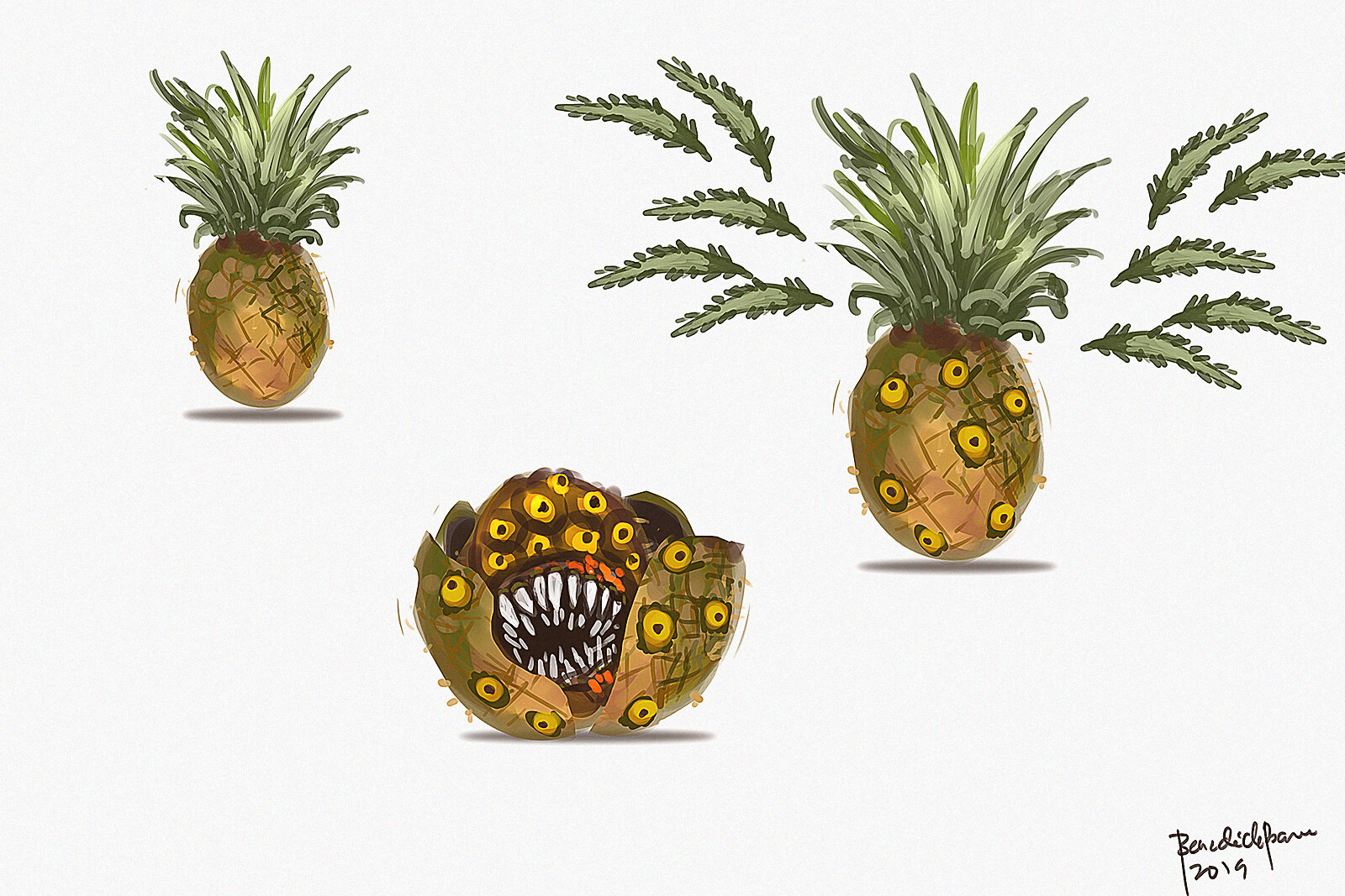 Pineas - creatures disguised as pineapple :D . its weapon - razor sharp leaves. When it peels off, it will reveal its true form with its big mouth sharp teeth.