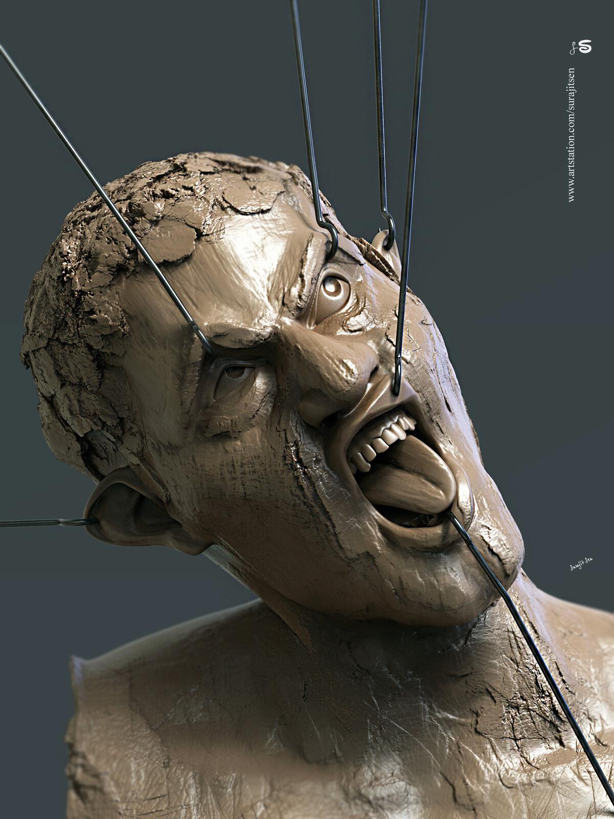 """Pain"" My free time speed Digital sculpt study!  Background music - #hanszimmermusic"