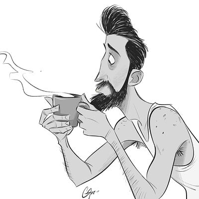 Christopher ables man with morning coffee